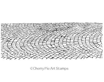 Cobbled road, street - scenic CLiNG RuBBer STaMP by Cherry Pie S532