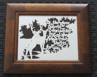 As The Deer - Scherenschnitte - Hand Paper Cutting Art signed and dated By Janet Lynch -11x14 Framed