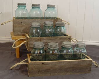 Rustic reclaimed wood planter box, rustic home decor, reclaimed wood mason jar holder, wood planter box, 3 sizes, with rope handle