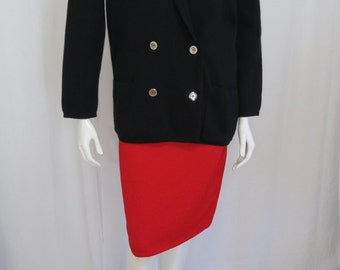 Jaeger Great Britain 1970's black wool double breasted cardigan size Medium Dry cleaned
