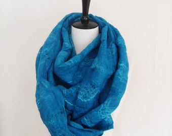 Cobweb cowl Scarf circle scarf Infinity Scarf lace Felted 2 in1 shrug Teal