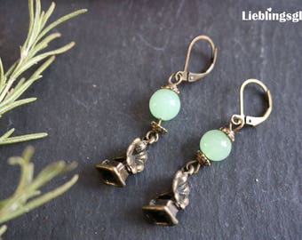 Bronze earrings with mint green beads and gramophone