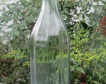 Vintage Pale Green Beverage Bottle/ Decanter - Porcelain Lid With Metal Bale