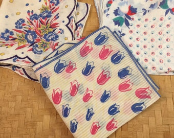 Vintage handkerchiefs, lot of red and blue hankies perfect for crafting, wedding decor, shabby chic linen hankies