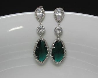 pave emerald earrings , long bridal emerald earrings , zirconia green earrings , weddings , emerald statement earrings, bridesmaids earrings