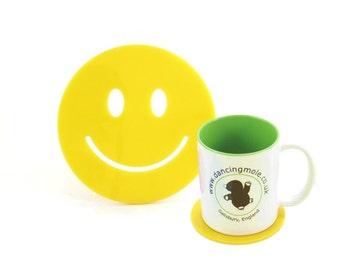 Smiley Face Emoji Coaster in Yellow