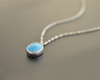 Turquoise necklace, Silver necklace, Wedding necklace, Bridal necklace, Anniversary gift, Mother's Day Gift,Christmas gift,tmj03042