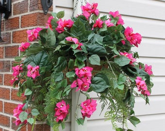 Silk Hanging Plant - Bougainvillea Pink with long greens