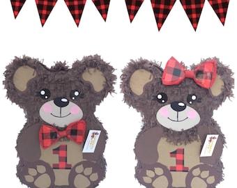 First Birthday Lumberjack Bear Pinata