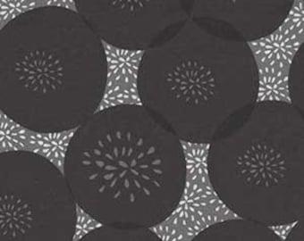 ART FABRIC - Amy Shaw, Cherry Pop Coordinate, black, gray, grey, circles, flowers, dots