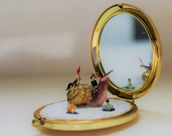 SOLD | Miniature Diorama Fantasy World Compact Mirror Tiny Snail: The Voyage of the Sluggard