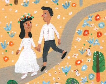 romantic walk   Original illustration, wall decor,