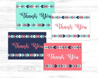 Tribal Thank You cards Coral Mint Navy Woodland Boho arrows Party Thank You cards Thank You notes Birthday party Baby shower (PDWSI510)