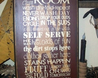 LAUNDRY ROOM TYPOGRAPHY Primitive Sign