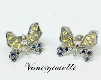 Handmade 925 sterling silver earrings, stud earrings and sapphires, handcrafted jewelry, silver and sapphires, Vanixgioielli, butterfly earrings