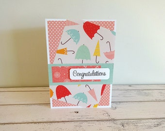 New Baby Card, Handmade Baby Card, Congratulations Card, New Mom, Stamped Card, Embellished Card, Baby Shower Card, Congratulations Baby