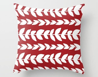 Leaves Pillow Cover - Modern Vines Pillow Cover - Red PiIllow Cover - Modern Home Decor - includes insert