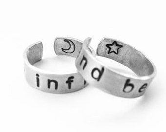 To Infinity and Beyond Ring Set - Best Friends, Boyfriend, Girlfriend, Moon Stars - A Pair of TWO Friendship Rings - Customizable Gift