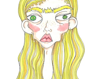 Monobrow Girl A4 Art Print / hand drawn illustration done using promarkers then digitized and professionally printed
