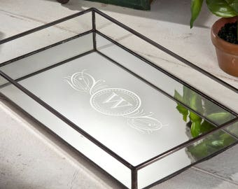 Monogrammed Glass Tray Vanity Organizer Mirrored Tray with Clear Glass Sides Display Storage Dresser Home Decor Personalized TRA 108 ET202