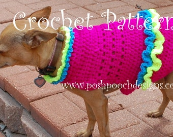 Instant Download Crochet pattern - Dog Summer Fun Suit - Dog Sweater - 2-15 lbs