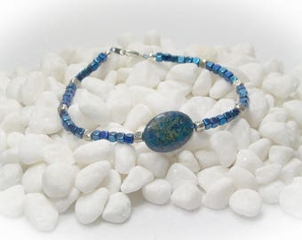 Beaded Anklet Blue Gemstone Ankle Bracelet Hematite Jewelry Boho Anklet Large Anklets For Women Beaded Jewelry 10 Inch Anklet - 17091