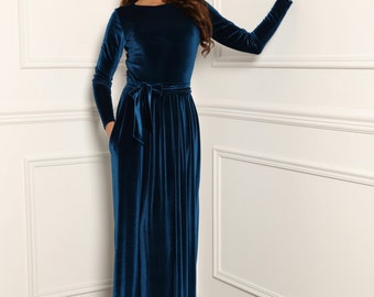 Bridesmaid Velvet Dress  Dark Electric Maxi Elegant Long Sleeves Pockets