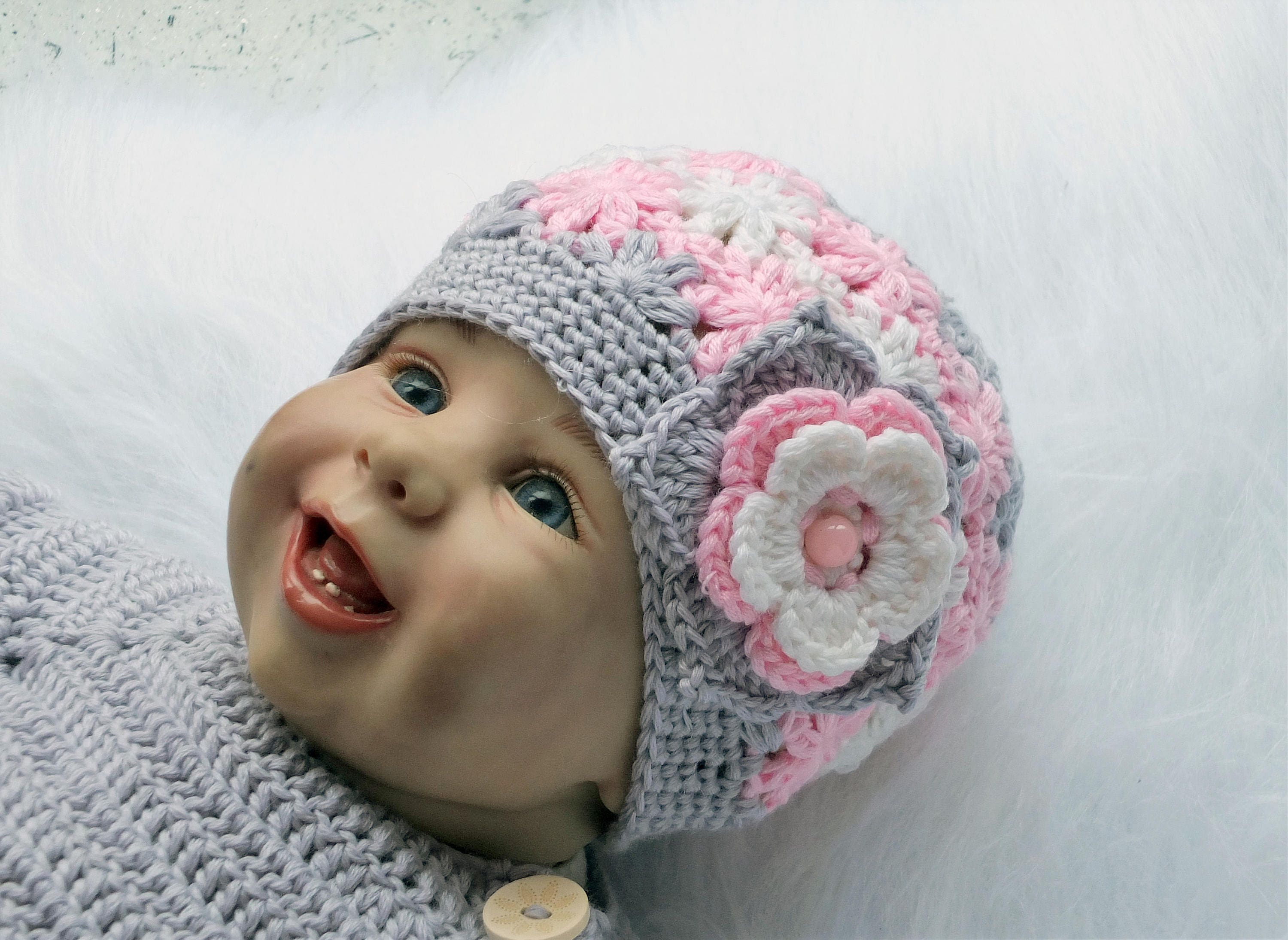 9742e43dcff Pink and gray - Baby girl hat - Baby beanie- Crochet Baby hat