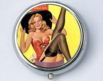 Pin up pinup Hat stockings pillbox Pill Case pill BOX vitamins meds rockabilly