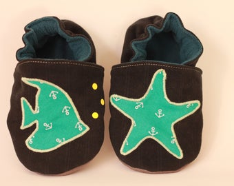 Soft booties in velvet with fish and starfish * custom * baby and toddler slippers vegan