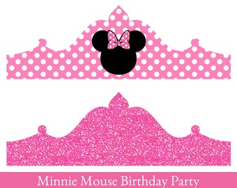 Minnie Mouse birthday Crown, Printable Party Crown, Minnie Mouse Crown, party hat, Minnie Mouse Birthday
