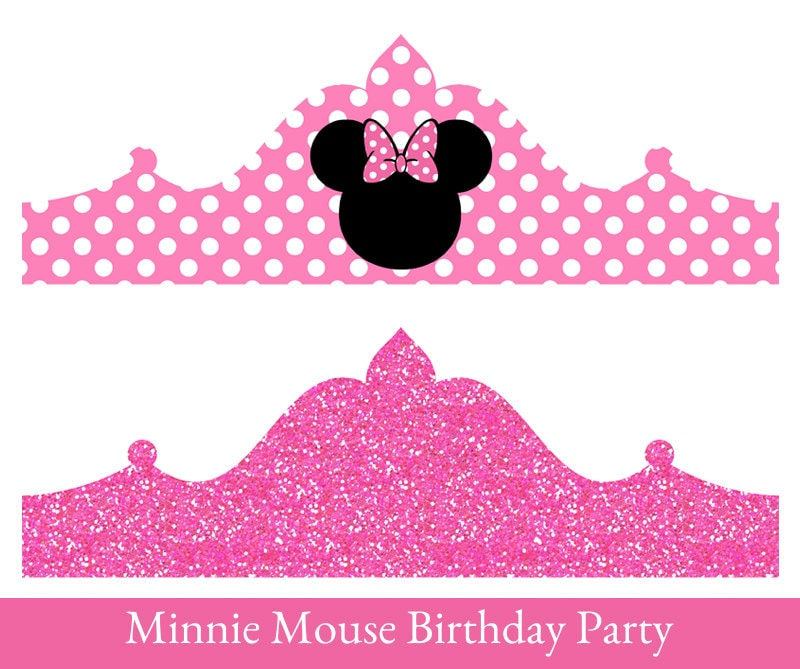 Minnie Mouse Birthday Crown Printable Party Crown Minnie