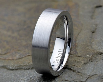 Wedding Band, Mens Cobalt Wedding Band, Pipe Cut, 6mm, Mans, His Her, Brushed ring, Anniversary Rings, His, Hers Gift, Personalized Rings