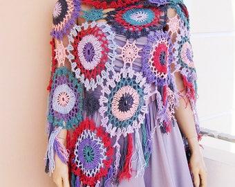 colorful crochet shawl, boho shawl, patchwork shawl, gypsy boho shawl, colorful summer shawl