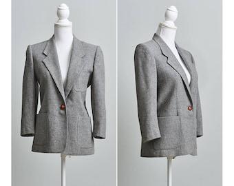 80s Wool Blazer, Grey Womens 3/4 sleeves Blazer