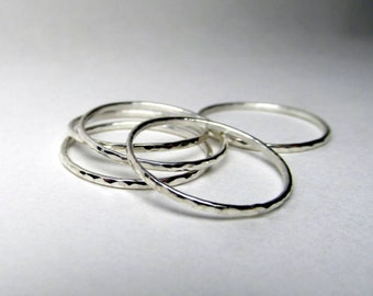 Silver Stacking Ring Set of 5 Thin Stackable Rings Thin Hammered Silver Rings Made to Order