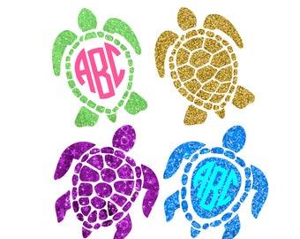 Sea Turtle Svg Sea Turtle Monogram Svg sea life svg under the sea svg svg files for Cricut Silhouette Vector cut files