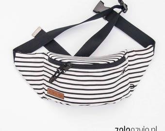 Black White Stripes Fanny Pack, Waist Bag, Bum Bag, Hip Pouch, Belt Bag, Custom Made, Slow Fashion