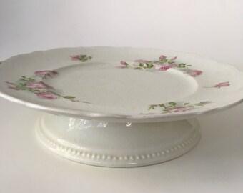 Antique Porcelain Dessert Tray - Cake Stand - Serving Dish - Floral - Vintage - Johnson Bros - England