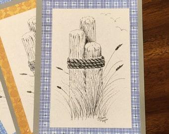 Distant Seagulls Art Print Handmade Greeting Card, Note Card, Art Card