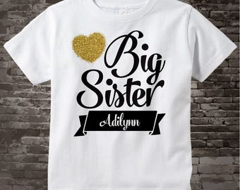 Girl's Big Sister Personalized Shirt or Onesie for Infant, Toddler or Youth, Pregnancy Announcement 10092015a