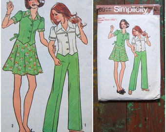 """Vintage pattern, 70's sewing pattern, Simplicity 6914, Girl's Top, Short skirt and pants, Girls/Childrens, Size 10 years, Chest 28.5"""" / 73cm"""