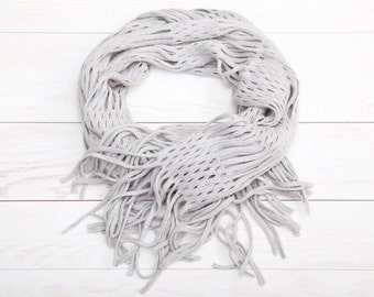 Gray Lace Scarf, Fashion Scarf, Mother Day Gift, bridesmaid gift, girlfriend gift, Summer Scarves, Best Selling Items, Original Scarf