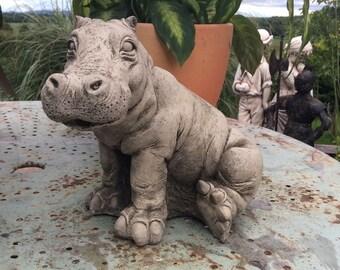 Stone Garden Hippo Hippopotamus Garden Ornament