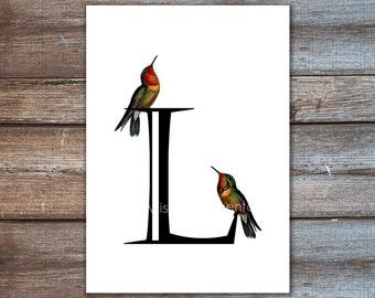 Individuelle Briefe. Personalisierte Kunstdruck, Geschenkideen, Kolibri Druck auf 8 x 10 oder DIN A4, 5 x 7