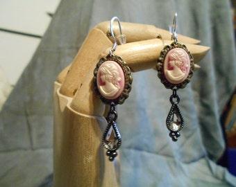 Pink Cameo Dangle Earrings