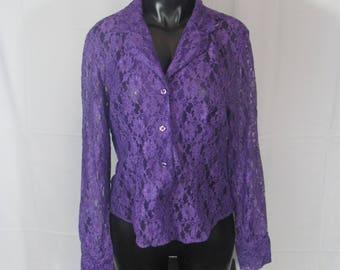 Vintage 90s Purple Lace Long Sleeve Top Lace Shirt