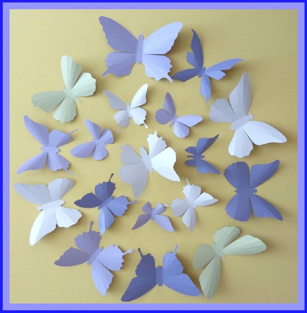 3D Wall Butterflies 30 Lavender Lilac Purple Tea Green