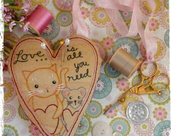 Love Cat Mouse pincushion scissor fob PDF Pattern - embroidery stitchery Chatelaine instant download ribbon primitive