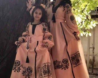 Beautiful Women Boho  Dress with Flowers Ukrainian Vyshyvanka Maxi Dress Ukrainian Style Chic Ethnic dress Modern Folk